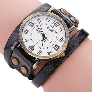 Cow Leather Bracelet Watch Vintage Men Women Wristwatch Quartz CCQ Brand