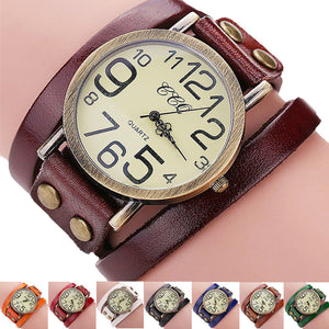 Cow Leather Bracelet Vintage Watch Men Women Wristwatch Quartz CCQ Brand