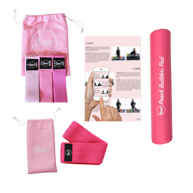 Ultimate Workout Bundle - Peach Builder Fabric Resistance Bands Set, Advanced Band, Bar Pad & Downloadable Workout Guide