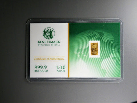1/10th Gram Bar 24K 999.9 Fine Gold Bullion in sealed cert card 21b $11.31  1/10th Gram Bar 24K 999.9 Fine Gold Bullion in sealed cert card 21b