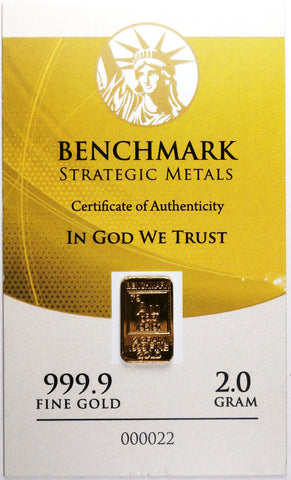 2 Gram Gold 24 Carat Certified .999 Fine Gold Pure Gold Bullion Ingot