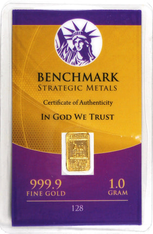 Gold One Gram Elemental Bar – Pure 24 Carat Gold – 1 Gram .999 Pure 24 Carat Gold Bullion