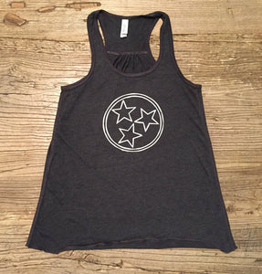 Women's Tri Star on Charcoal Racerback Tank — bright and durable children's clothes, with love from Tennessee!