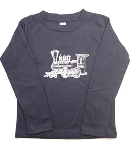 Train on Navy Long Sleeve — bright and durable children's clothes, with love from Tennessee!