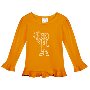 Ruffle Basketball Dog Shirt — bright and durable children's clothes, with love from Tennessee!