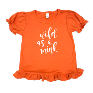 Orange Wild as a Mink Ruffle — bright and durable children's clothes, with love from Tennessee!