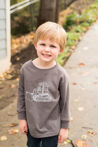 Bulldozer: Charcoal & White on Long Sleeve — bright and durable children's clothes, with love from Tennessee!