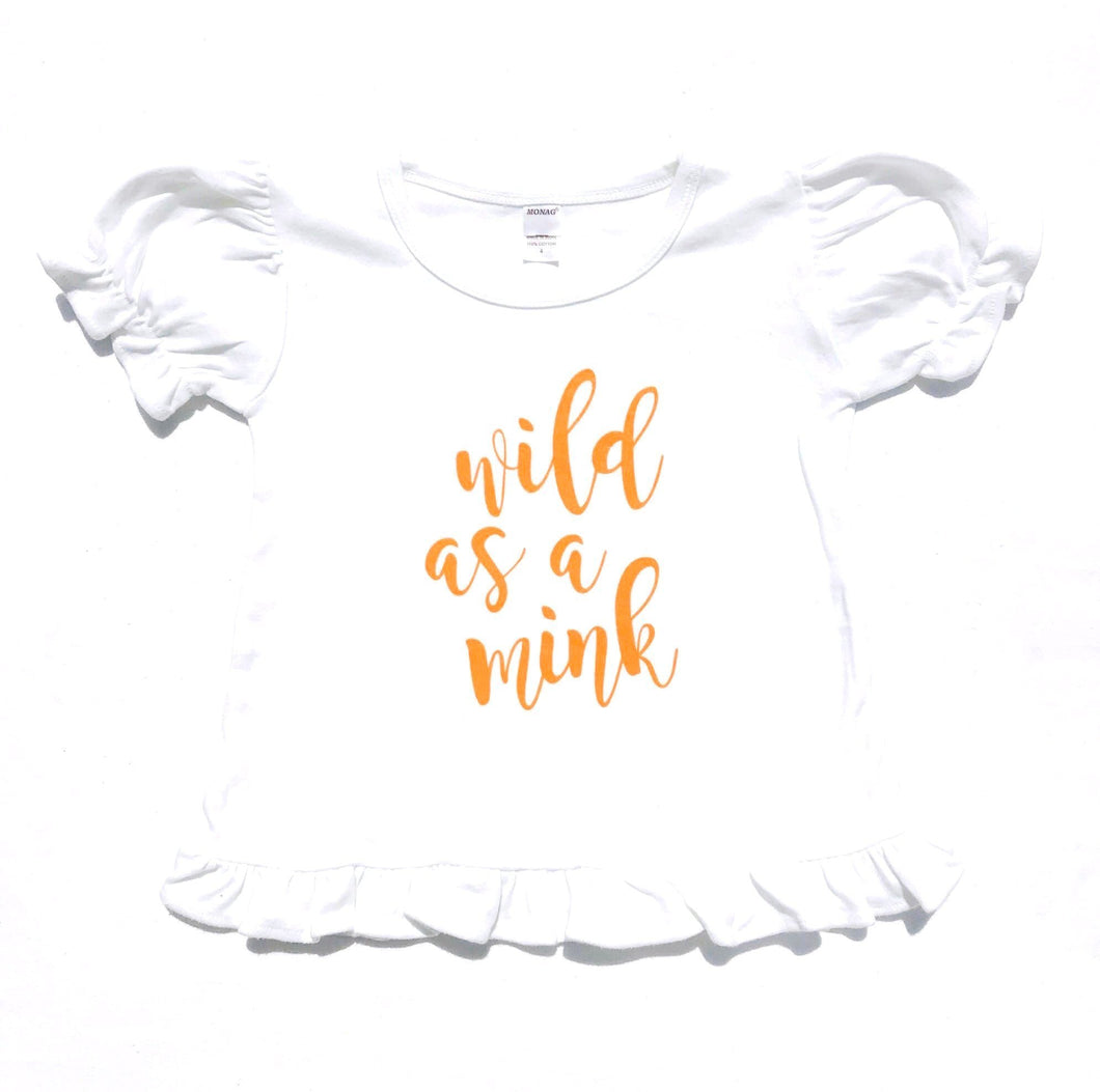 Wild as a Mink White Ruffle — bright and durable children's clothes, with love from Tennessee!