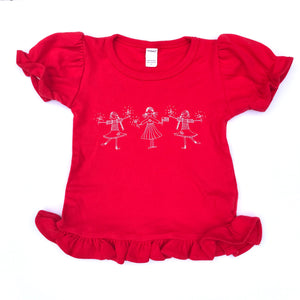 Patriotic Girls on Red Ruffle Shirts — bright and durable children's clothes, with love from Tennessee!