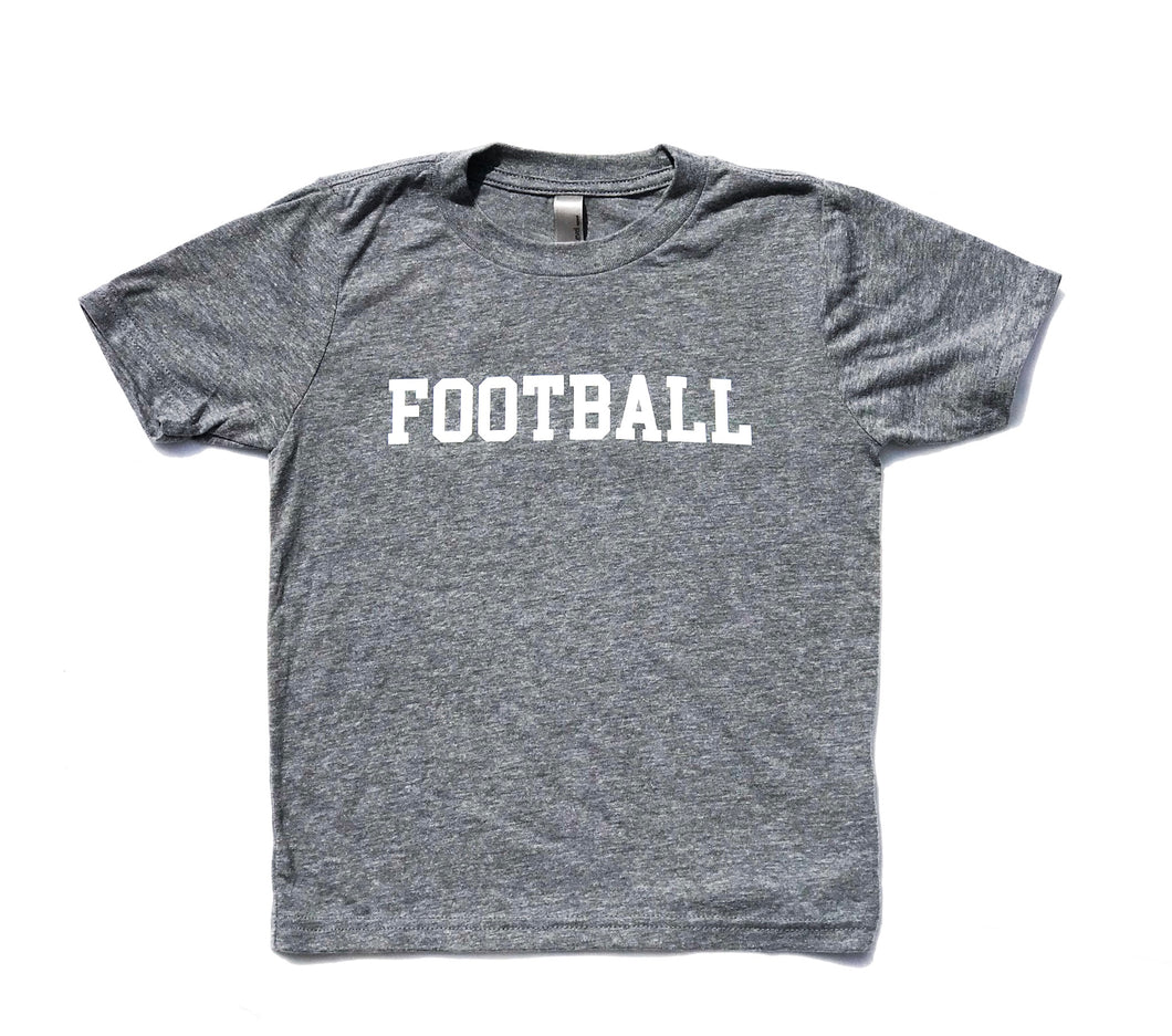 FOOTBALL on Crew Style: Charcoal — bright and durable children's clothes, with love from Tennessee!