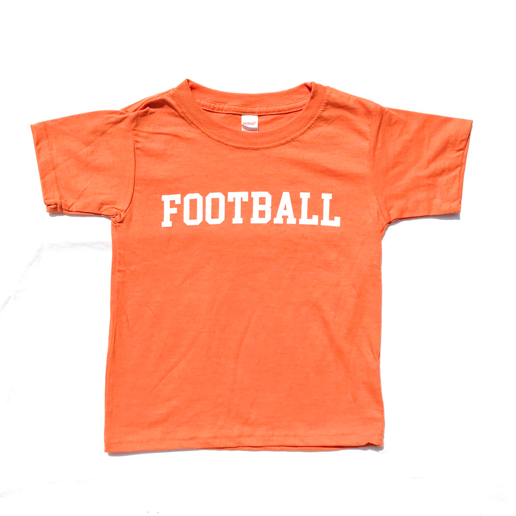 FOOTBALL on Crew Style: Orange — bright and durable children's clothes, with love from Tennessee!