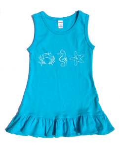 Ruffle Dress Turquoise Beach Trio — bright and durable children's clothes, with love from Tennessee!
