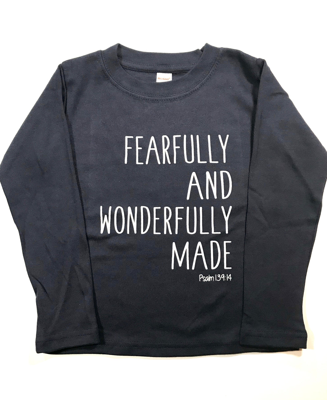 Fearfully & Wonderfully Made on Navy — bright and durable children's clothes, with love from Tennessee!
