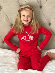 Cheer Girl Pajamas on Red — bright and durable children's clothes, with love from Tennessee!