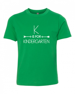K is for Kindergarten on Green — bright and durable children's clothes, with love from Tennessee!