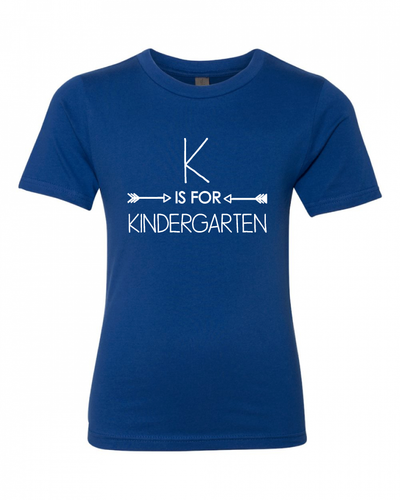 K is for Kindergarten on Royal Blue — bright and durable children's clothes, with love from Tennessee!