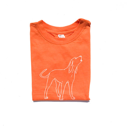 Orange Hound Dog — bright and durable children's clothes, with love from Tennessee!