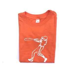 Orange Baseball Player — bright and durable children's clothes, with love from Tennessee!