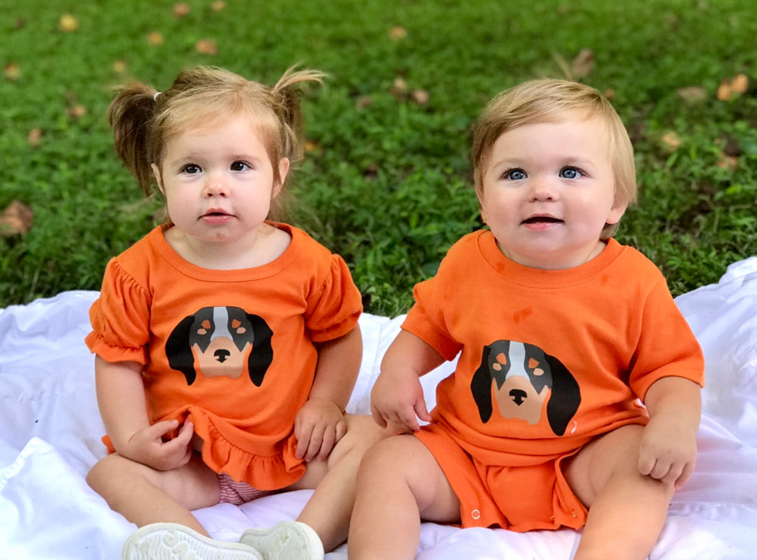 Baby Hound Dog Romper Ruffle — bright and durable children's clothes, with love from Tennessee!