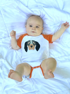 Baby Hound Dog Raglan Onesie — bright and durable children's clothes, with love from Tennessee!