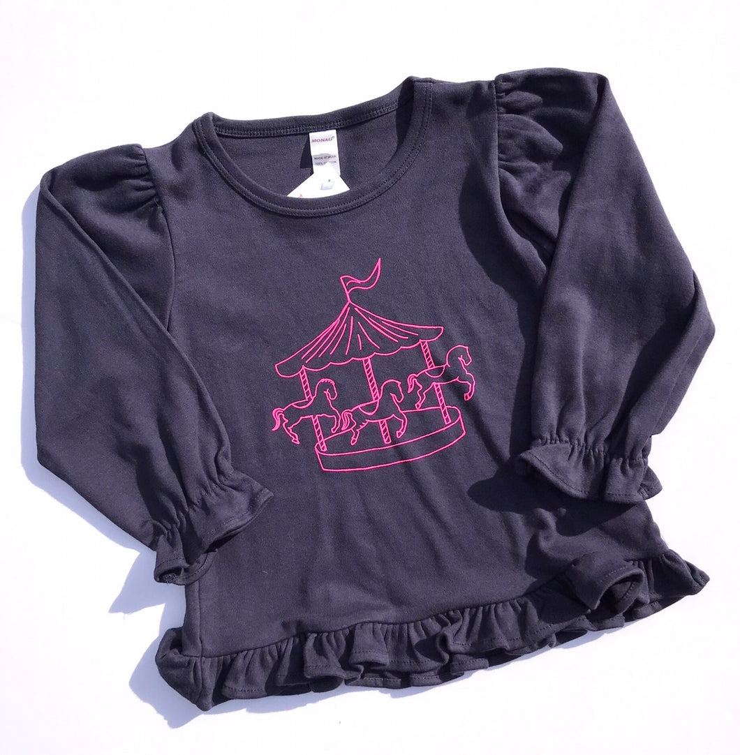 Carousel on Navy Long Sleeve Ruffle — bright and durable children's clothes, with love from Tennessee!