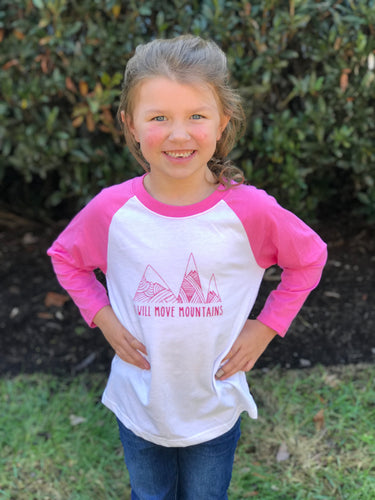 Move Mountains Pink Raglan