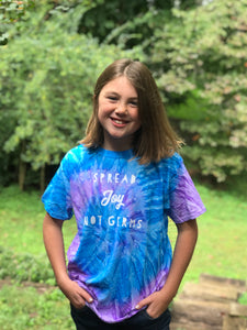Spread Joy Not Germs Blue & Purple Tie Dye