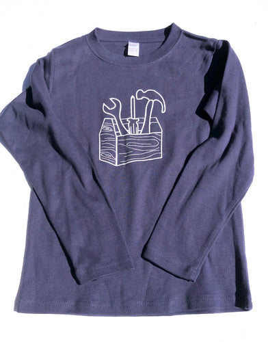 Tool Box on Navy Shirt — bright and durable children's clothes, with love from Tennessee!