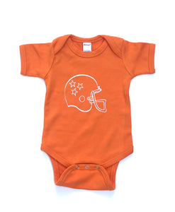 Helmet on Orange Onesie