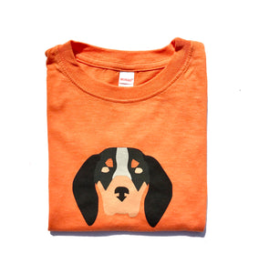 Hound Dog on Orange — bright and durable children's clothes, with love from Tennessee!