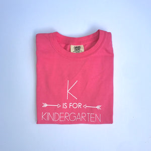 K is for Kindergarten on Peony Pink