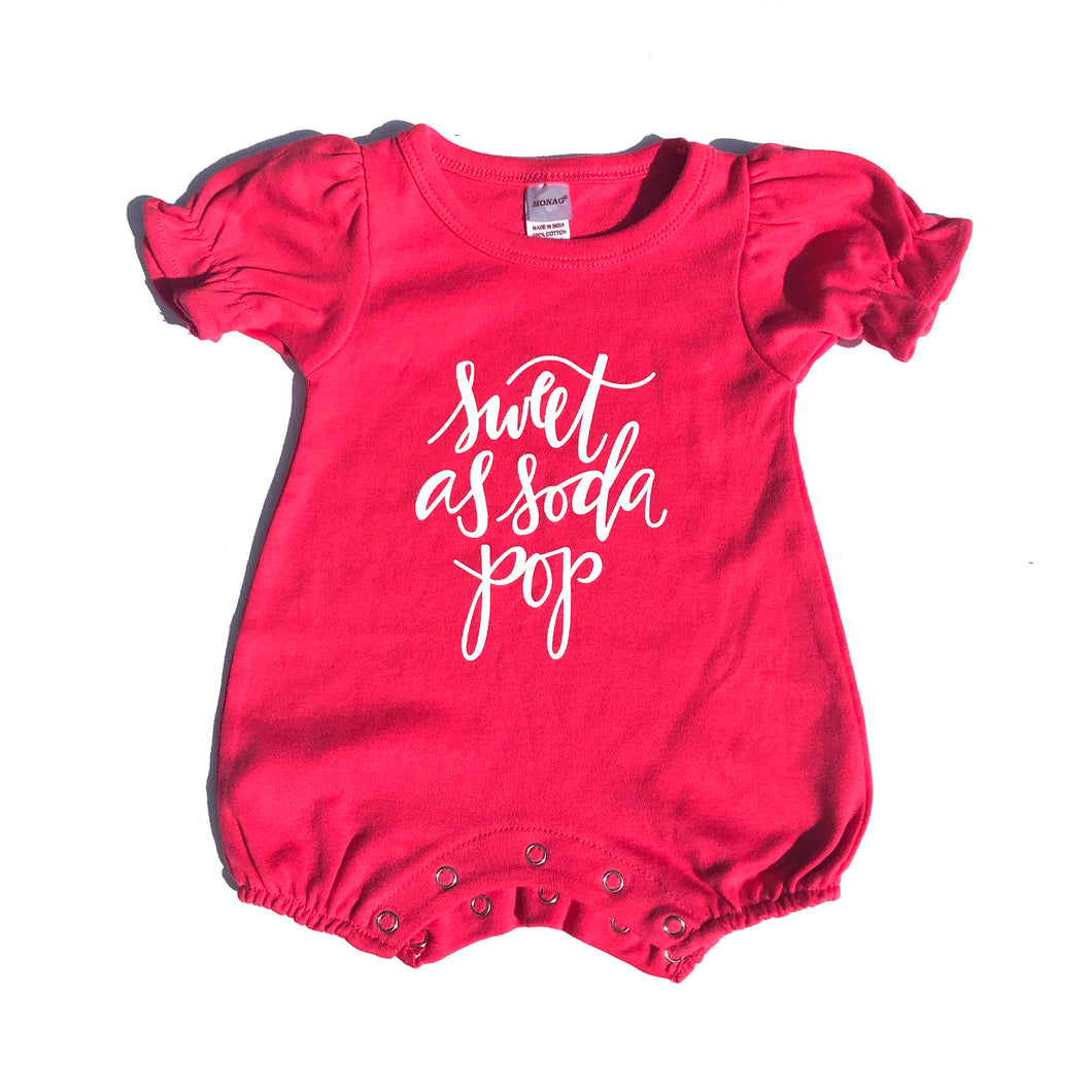 Sweet as Soda Pop Romper on Fuchsia — bright and durable children's clothes, with love from Tennessee!