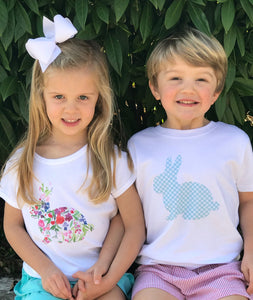 Gingham Bunny Tee — bright and durable children's clothes, with love from Tennessee!