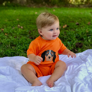 Baby Hound Dog Romper — bright and durable children's clothes, with love from Tennessee!
