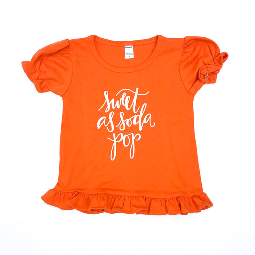 Sweet As Soda Pop Orange Ruffle — bright and durable children's clothes, with love from Tennessee!