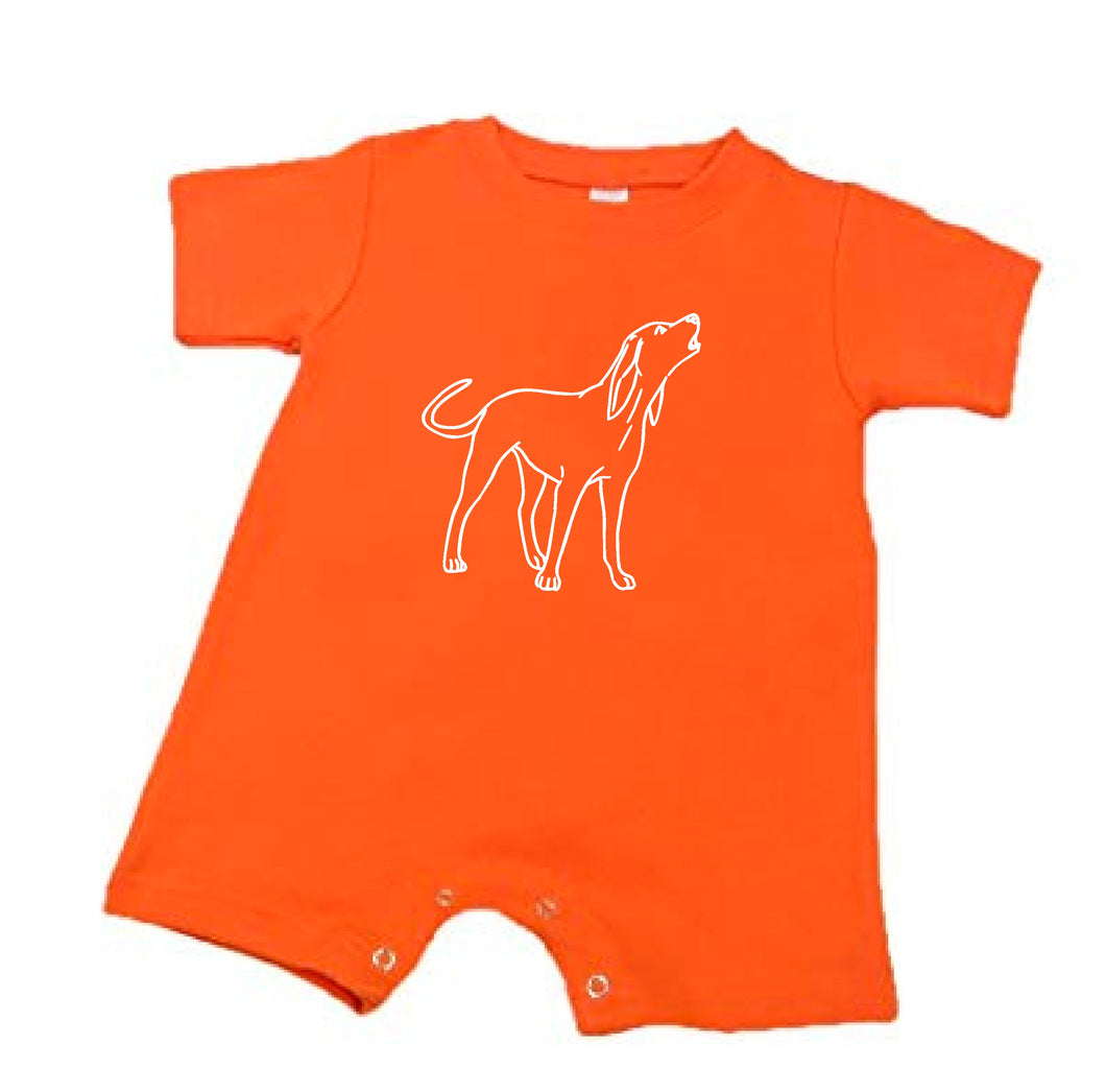 Hound dog Romper — bright and durable children's clothes, with love from Tennessee!
