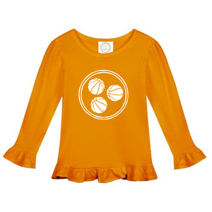 Tri Ball Long Sleeve Ruffle Shirt — bright and durable children's clothes, with love from Tennessee!
