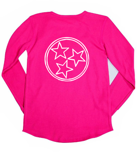 Fuschia Tri Star Long Sleeve — bright and durable children's clothes, with love from Tennessee!