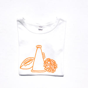 Cheer Gear on White Shirt — bright and durable children's clothes, with love from Tennessee!