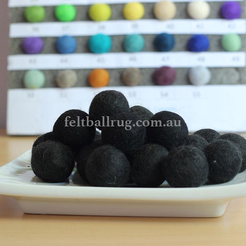 Felt Ball Black 1 CM,  2 CM, 2.5 CM, 3 CM, 4 CM Colour 11 - Felt Ball Rug USA - 1