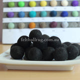 Felt Ball Black 1 CM,  2 CM, 2.5 CM, 3 CM, 4 CM Colour 11 - Felt Ball Rug Australia - 1
