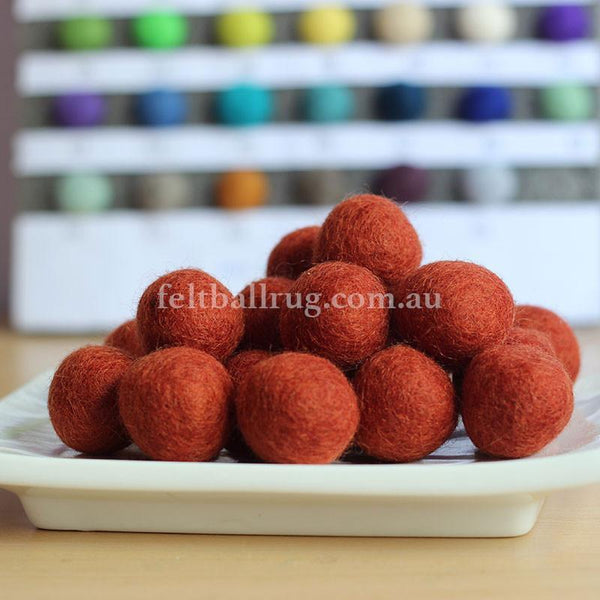 Felt Ball Deep Orange 1 CM,  2 CM, 2.5 CM, 3 CM, 4 CM Colour 14 - Felt Ball Rug Australia - 1