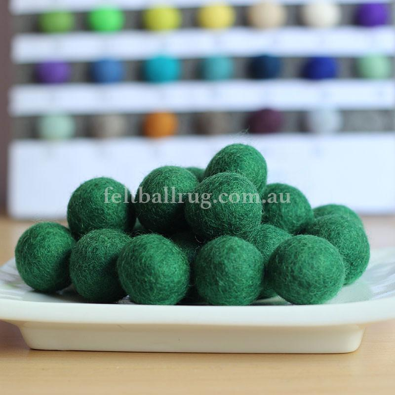 Felt Ball Forest Green 1 CM,  2 CM, 2.5 CM, 3 CM, 4 CM Colour 20 - Felt Ball Rug USA - 1