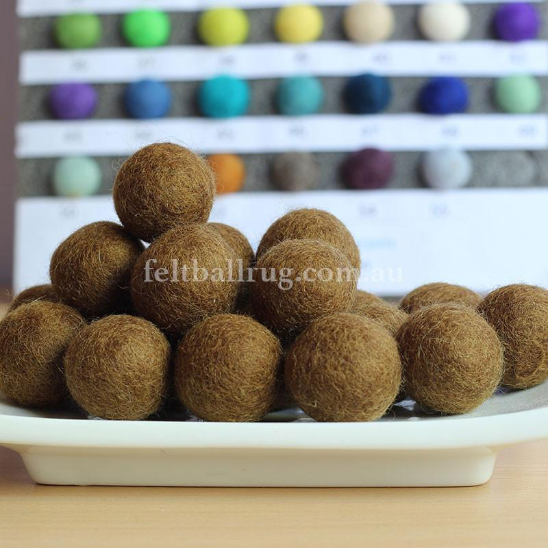 Felt Ball Caramel Brown 1 CM,  2 CM, 2.5 CM, 3 CM, 4 CM Colour 25 - Felt Ball Rug USA - 1