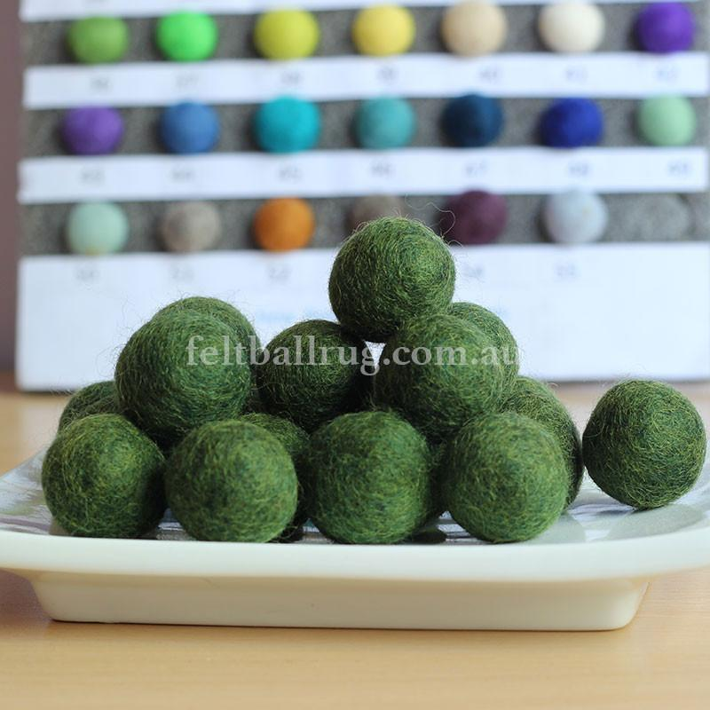 Felt Ball Mountain Green 1 CM,  2 CM, 2.5 CM, 3 CM, 4 CM Colour 30 - Felt Ball Rug USA - 1
