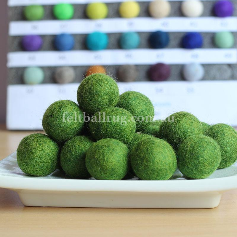 Felt Ball Green Trees 1 CM,  2 CM, 2.5 CM, 3 CM, 4 CM Colour 36 - Felt Ball Rug Australia - 1