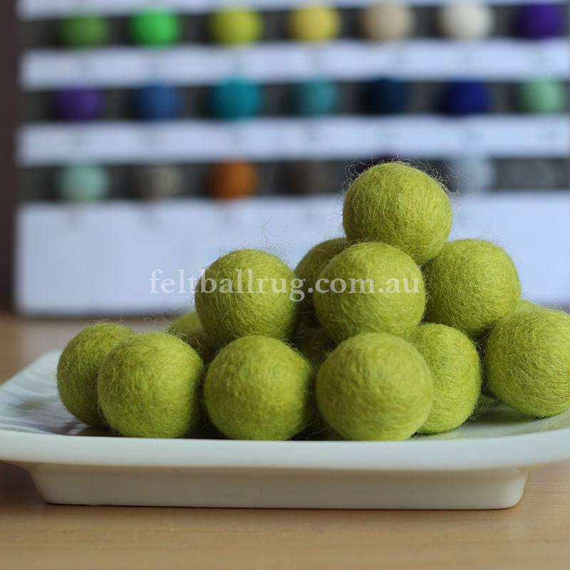Felt Ball Bright Yellow 1 CM,  2 CM, 2.5 CM, 3 CM, 4 CM Colour 38 - Felt Ball Rug Australia - 1