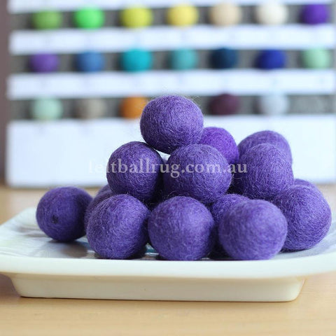 Felt Ball Purple 1 CM,  2 CM, 2.5 CM, 3 CM, 4 CM Colour 43 - Felt Ball Rug Australia - 1
