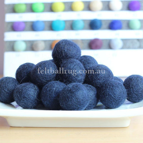 Felt Ball Stormy Blue 1 CM,  2 CM, 2.5 CM, 3 CM, 4 CM Colour 47 - Felt Ball Rug Australia - 1