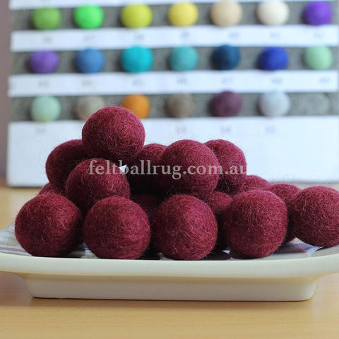Felt Ball Blood Red 1CM,  2CM, 2.5CM, 3CM, 4CM Colour 4 - Felt Ball Rug Australia - 1